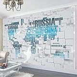 Fotomurales - Murales moderna de Diseno Mapa del mundo azul tridimensional pintura estudio niños- Decoración de Pared decorativos - 120x100cm
