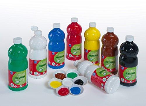 Lefranc & Bourgeois 188372 flüssig Tempera Redimix Kinderfarbe, gebrauchsfertige Tempera - Gouachefarbe, 8 Farben Set a 1000ml Flaschen - Primärfarben -