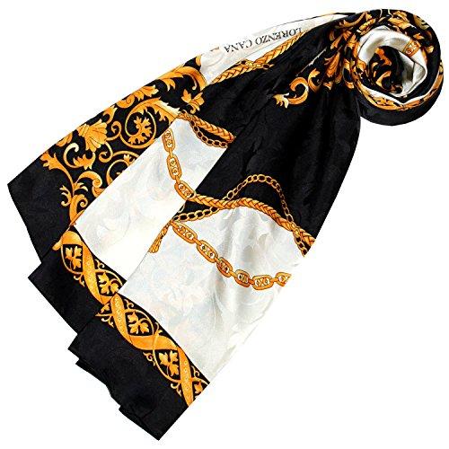 LORENZO CANA - Luxus Seidentuch Damast 100{7e22203c0101e005daab66cce4fd79074451bb2b6058bab0517e459ab4c093cf} Seide gewebt bedruckt 88 cm x 88 cm opulentes gold schwaz weiss Barock Muster Tuch Halstuch 89136