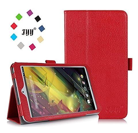 ASUS MeMO Pad 8 Case, ASUS MeMO Pad 8 ME181C Case, Fyy® Premium Soft Folio Leather Case for ASUS MeMO Pad 8 ME181C Red (With Auto Wake/Sleep Feature)