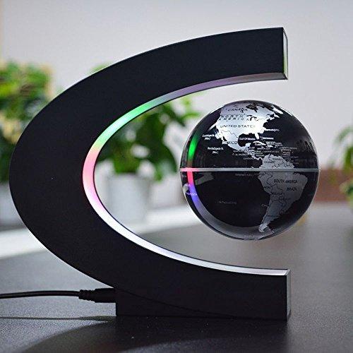 Desxz Magnetischer Schwebender Globus (Englisch), C-förmigen Magnetschwebebahn Schwebender Globus Weltkarte mit LED Leuchten für Wohnkultur Büro Dekoration - Weihnachtsgeschenk