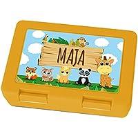 Preisvergleich für Brotdose mit Namen Maja - Motiv Zoo, Lunchbox mit Namen, Frühstücksdose Kunststoff lebensmittelecht