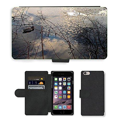 Just Mobile pour Hot Style Téléphone portable étui portefeuille en cuir PU avec fente pour carte//m00139814Canard Oiseau Miroir d'eau d'hiver//Apple iPhone 6Plus 14cm