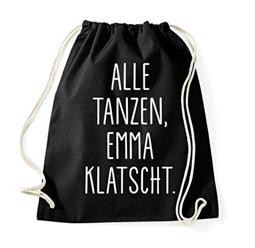 utel mit Spruch/Beutel Tasche Rucksack Jutebeutel Sportbeutel/Modell ALLE TANZEN EMMA KLATSCHT ()