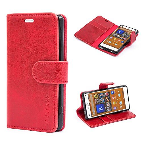 Mulbess Handyhülle für Sony Xperia Z3 Compact Hülle, Leder Flip Case Schutzhülle für Sony Z3 Compact Tasche, Wein Rot