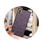 longing-summer Fashion Matte Glitter Case Bling Square Cover Phone for iPhone Shine Back Shell Case for iPhone for iphone 8 Plus Violet