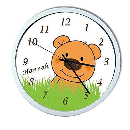 Wanduhr mit Wunsch - Namen für Kinderzimmer ; einzigartige Kinderuhr ; Rahmen weiß ; Kinder Wanduhr ohne ticken mit oder ohne Namen auf Wunsch personalisiert ; Uhr - Motiv Teddy Bär