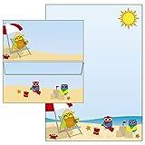 Eulen Strandurlaub Set 55-teilig Briefpapier + Briefumschläge + Notizblock + Postkarten + Aufkleber + Mappe 5830/55set