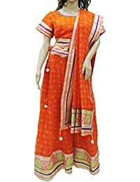 Ratnatraya Chiffon Leheriya Orange Women's Lehenga Choli Heavy Laces Heavy Laces | Latest Designer Party Wear