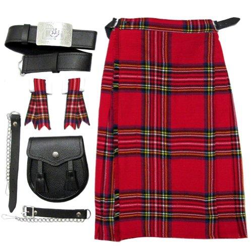wart-Kilt, Sporran, Gürtel, Flashes - Jungen - 9-10 Jahre (Kinder Scottish Kostüm)