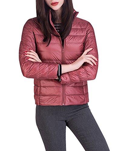 Damen Daunenjacke Packbar Stehkragen Ultra Leicht Gewicht Winter Wärm Kälteschutz Daunenmantel Pink XXL