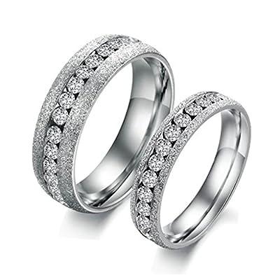 Bishhilin 2Pcs Paarpreis Eingestellten Kanal Zirkonia Edelstahl Silber Ringe Eheringe Trauringe Set for Paar