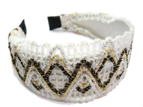 rougecaramel - accessoires cheveux - Serre tête/headband large tricoté - blanc