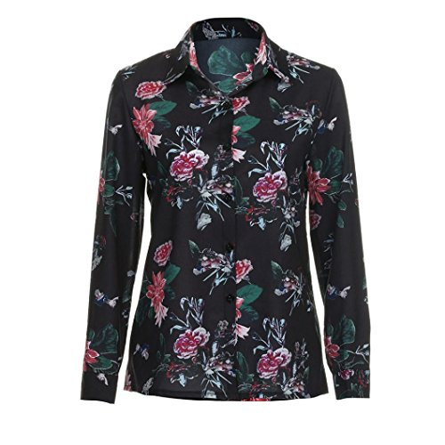 Camicetta Donna , feiXIANG Donna manica lunga scollo a V floreale stampata camicetta casual Tops,poliestere,S~XL Multicolore