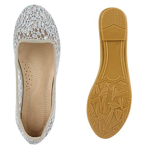 Damen Ballerinas | Slipper Flache Schuhe | Spitze Häkeloptik | Feminine Slip-ons | Stoffschuhe Strass Metallic Grau Strick Pailletten