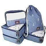 Seeherz Packing-Cubes | leichtes 5-teiliges Packtaschen Set für Deine nächste Reise | Kleidertaschen für Ordnung im Gepäck mit Gymbag