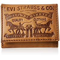 Levi's mens Leather 2 Horse Logo Trifold Wallet Wallet