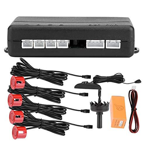 KIMISS 12V DC Universal Kfz PDC Parksensor Sensor, Digital farbiger Umkehrradar, Sensor für die Einparkhilfe für hohe Empfindlichkeit, Auto Detector-System mit 4 Radarsensoren, 0,3-2,5 m(Rot) -
