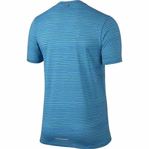 Nike Dri-Fit Contour Ss Maglia da Running Sky/Navy/Blue/Heather Reflective