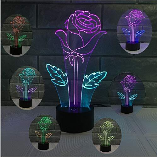 2017 patent neue rose teaser 3d nachtlicht kreative bunte touch lade led visuelle licht geschenk lichter -