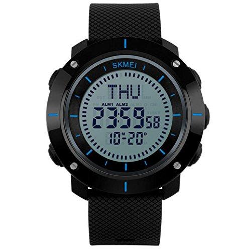 Oumosi orologio digitale quadrante grande bussola impermeabile orologio sportivo