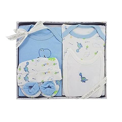 Harson & Jane 100% coton de Coffret cadeau bébé-Body, bavoir, bonnet, chaussons pour bébé nouveau-né