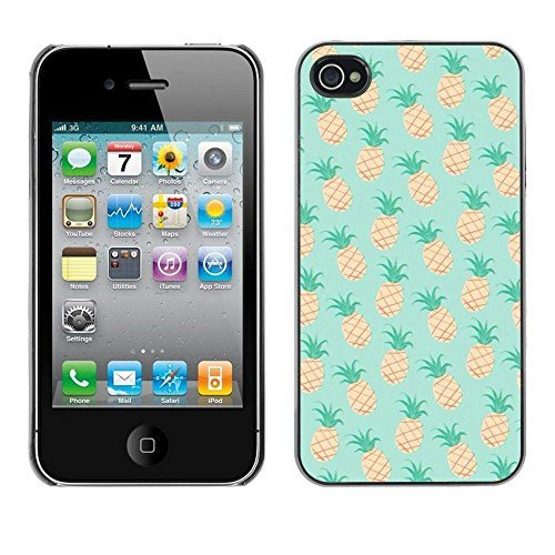 GIFT CHOICE / Schlank Hart Schutzhülle Tasche Hülle HandyHülle Slim Hard Protective Case SmartPhone Cover for iPhone 4 / 4S // Ananas-Minze 420 Unkraut Cannabis //