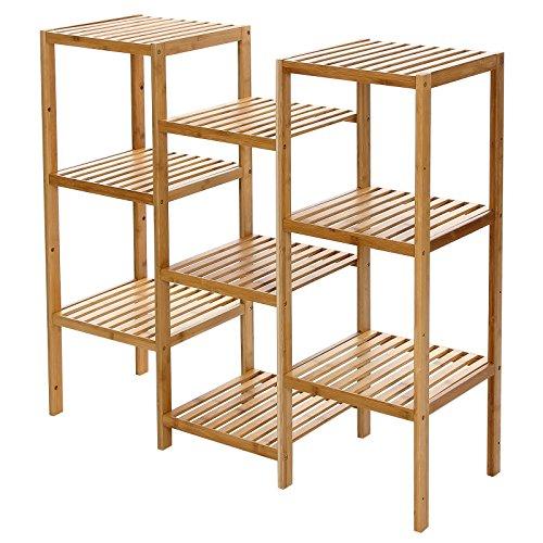 Songmics Standregal Badregal Bambus Küchenregal Bambusregal Regal mit 9 Ablagen B x H x T: 96.5 x 90 x 32,5 cm bambusfarben BCB93Y