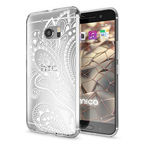 NALIA Handyhülle kompatibel mit HTC 10, Slim Silikon Motiv Case Cover Crystal Schutzhülle Dünn Durchsichtig, Etui Handy-Tasche Backcover Transparent Smartphone Bumper, Designs:Artificial Flowers 10 Slim Tasche Case