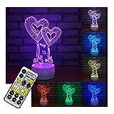 Erwa Novel 3D Nachtlicht Liebe Herz Illusion Lampe 3D LED Tisch Schreibtischlampe Kinder Nachttischlampe Lampe 7 Farben Dekorative Beleuchtung Geschenk Für Mädchen, Junge,Remote+Touch