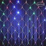 LED Lichternetz Lichterkette Baumbeleuchtung 2m 144 LED Strom Bunt Kabel mit Fernbedienung, Wasserdicht Kupferdraht 8 Modi Außen Innen für Party, Garten, Weihnachten, Hochzeit, Deko