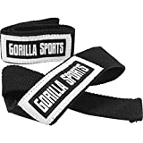 GORILLA SPORTS Profi Zughilfen 55 cm Schwarz/Weiß - Lifting Straps mit Griffhilfe für Fitness und...