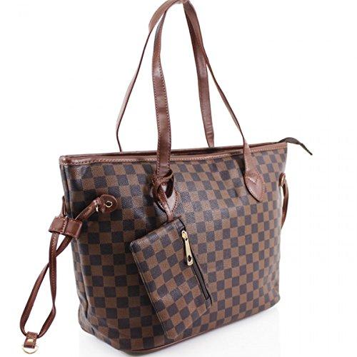 LeahWard® Damenmode Designer Schultertaschen Qualität Kunstleder Shopper Handtaschen 41412 (Braun Käufer) -