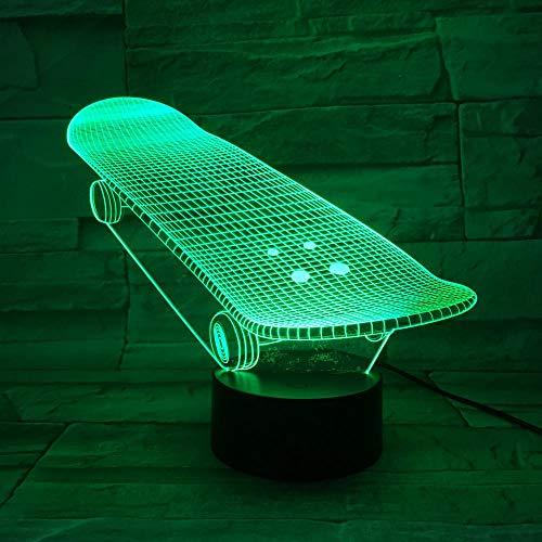 WEREWTR 3D Nachtlichter Skateboard LED 7 Farben ändern Touch-Schalter Schreibtischlampe für Kinder Baby Schlafzimmer Geschenk