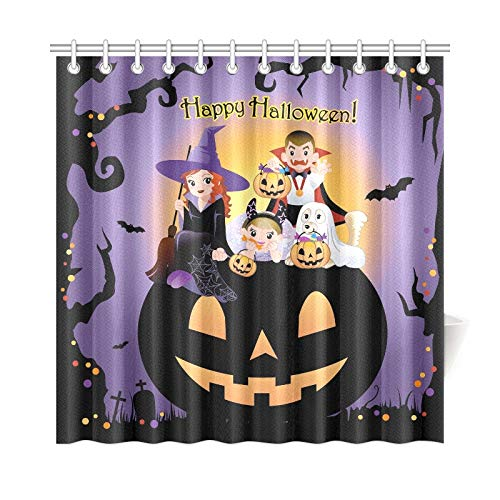 JOCHUAN Wohnkultur Bad Vorhang Halloween Kinder Tragen Kostüm Auf Riesigen Polyester Wasserdicht Duschvorhang Für Badezimmer, 72X72 Zoll Duschvorhänge Haken Enthalten