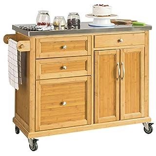 SoBuy FKW70-N Küchenwagen Kücheninsel Küchenschrank aus hochwertigem Bambus mit Edelstahlarbeitsplatte BHT ca.: 115x92x46cm