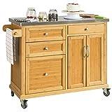 SoBuy FKW70-N Küchenwagen Kücheninsel Küchenschrank aus hochwertigem Bambus mit Edelstahlarbeitsplatte