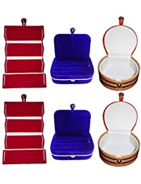Afrose Combo 2 Pc Red Earring Folder 2 Blue Ear Ring Box And 2 Pc Bangle Box Jewelry Vanity Case