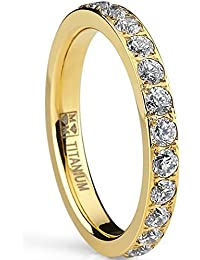 Ultimate Metals Co. ® 3MM Women's Gold Plated Titanium Eternity Ring, Wedding Band with Pave Set Cubic Zirconia