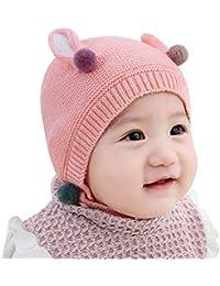Bonnet en crochet pour filles et garçons, BZLine- Casquette de boules de  poil avec oreilles de lapin d hiver pour tout-petits… f650830717d