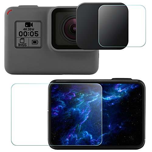 Lens & Screen Protectors for GoPro Hero5 Black Sport Camera with Lens Cap, FineGood 2 Pcs Anti-Scratches Tempered Glass and Plastic Lens Cover for Hero 5 Action Camera