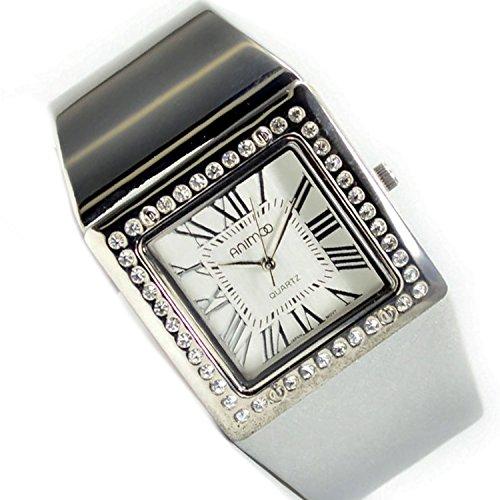 Damenuhr in Silber mit Strass Weiss Mode Fashion Armbanduhr XXL