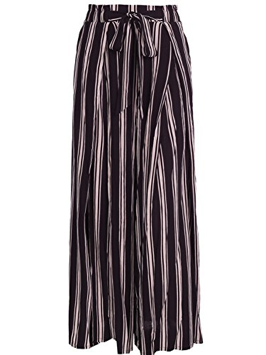 Missy Chilli Damen Hose High Waist Split Streifen Trousers Pants mit Tunnelzug