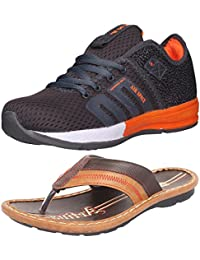 Ethics Perfect Stylish Combo Pack Of Orange Sports Shoes & Brown Slippers For Men's