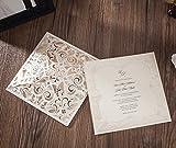 wishmade Laser geschnitten Einladungen Karten-Set mit passenden Thank You Karte und Antwortkarten mit Briefumschlag für Hochzeit Party Geburtstag Anlass cw6109