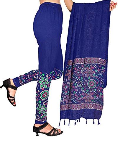 Snija Fashion Women\'s Dupatta with Leggings (PRDL2104BL_Blue_X-Large)