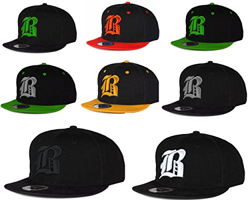 Casquette de Baseball SnapBack Bonnet Cap Chapeau Snap back 3D Gothique B Hip-Hop (B Black Black) B Black Gray