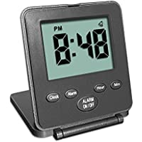 Digital Travel Alarm Clock - No Bells, No Whistles, Simple, Silent, Battery Operated, Alarm, Snooze, Small and Light, Folding, ON/OFF Switch, USA Top Selling for 2+ Years! Black