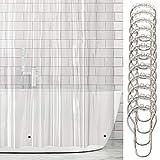 mDesign 2er-Set Vinyl Badewannenvorhang – wasserdichter Duschvorhang inkl. 12 Ringe – langer Vorhang für Dusche und Badewanne – 100 % Vinyl – transparent