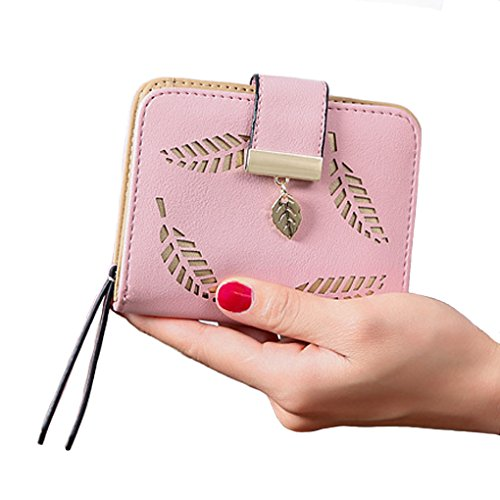 Zip Around Leather Wallet with ID Window, Short Bifold Money Clip Coin Purse Card Holder Leaf Clutch for Women Teenage Girl Gift